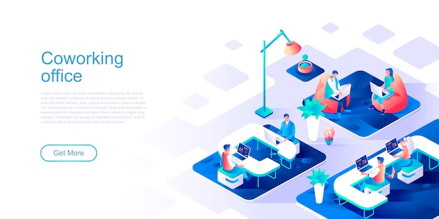 Coworking office isometric landing page vector template.