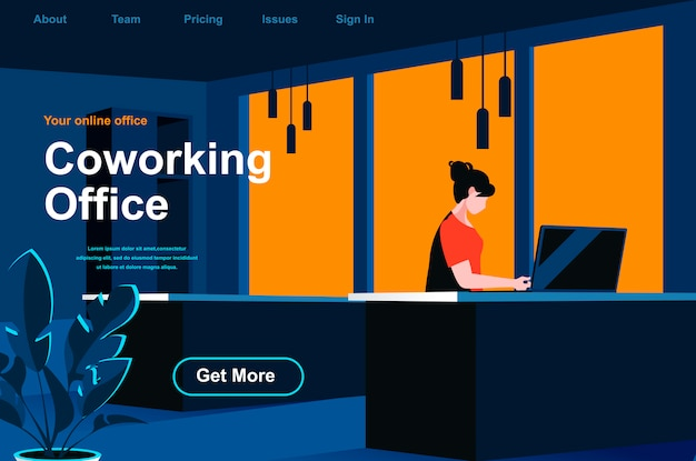 Coworking office isometric landing page.