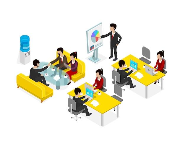 コワーキングオフィスの人々のビジネスマンオブジェクトアイソメトリック。ベクトルイラスト