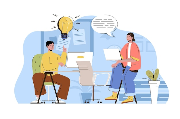 フラットな人々のキャラクターとコワーキングオフィスのwebコンセプトイラスト