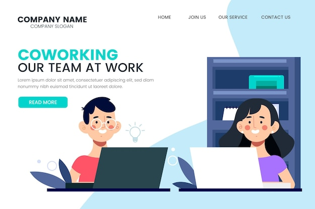 Pagina di destinazione del nostro team al lavoro in coworking