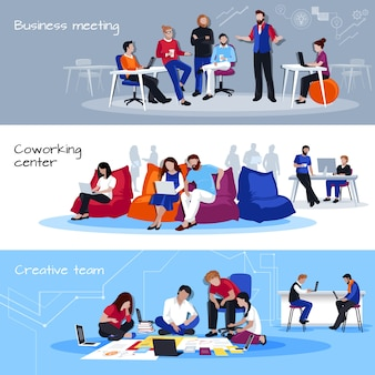 Coworking people flat horizontal banners