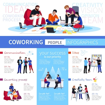 Coworking people flat infographic poster