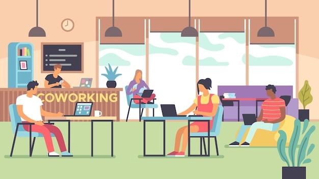 Коворкинг. люди разговаривают и работают за компьютерами в офисе с открытым пространством, многонациональные сотрудники, рабочие вместе плоская векторная концепция фрилансера