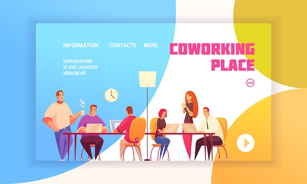 Coworking place landing page concept for website with coworkers in shared working environment and contact information about firm flat  illustration