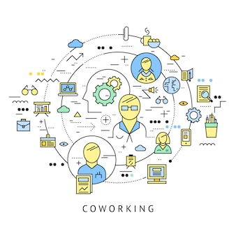 Coworking round composition with isolated line icon set combined in big circle vector illustration