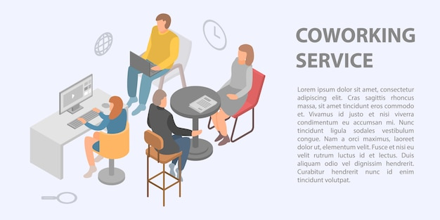 Coworking service concept banner, isometric style