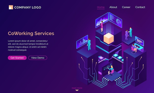 Coworking service, isometric workspaces, employee