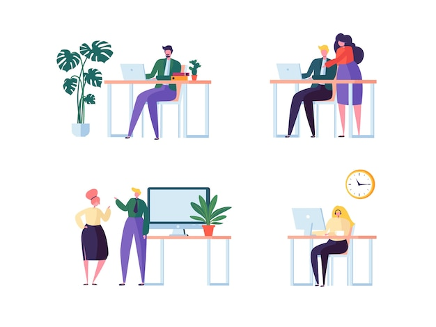 Концепция коворкинга. коллеги персонажи работа в команде. сотрудники офиса, работающие с ноутбуком и компьютером. деловые люди.