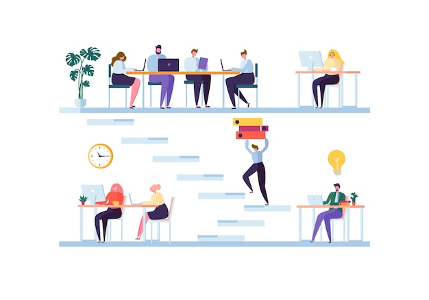 공동 작업 공간 개념. 동료 캐릭터 팀 작업. 랩톱 및 컴퓨터를 사용하는 사무실 직원. 사업가.
