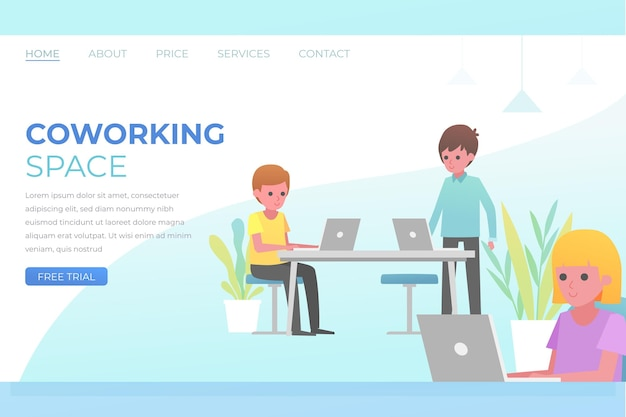 Coworking space flat hand drawn landing page