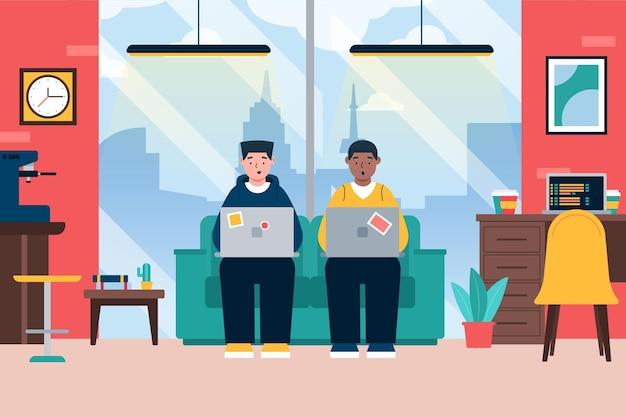 Illustrazione di spazio di coworking con persone in ufficio