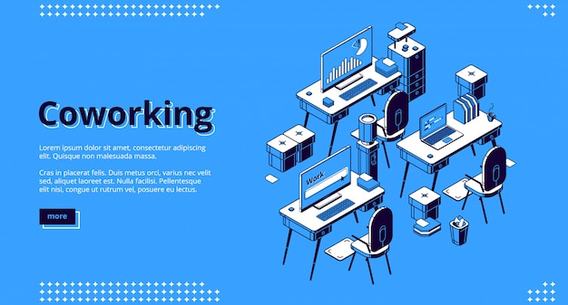 Coworking space isometric banner. teamwork