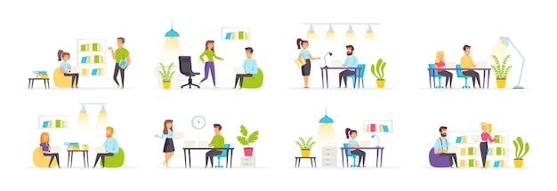 Coworking space set with people characters in various scenes and situations.
