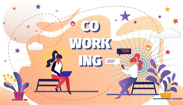Coworking space with creative people remote worker