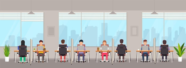 Coworking space with people. young people men and women work on laptops behind separate workstation with partition in creative office. shared working environment with large windows.