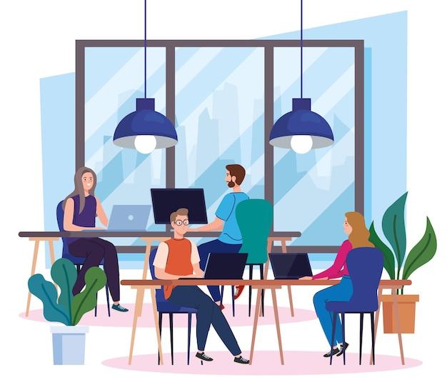 Коворкинг, молодые люди с компьютерами за столом, иллюстрация концепции совместной работы