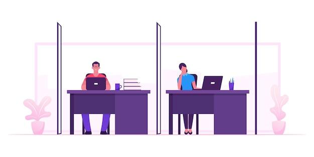 コワーキングチーム、デスクに座って退屈で働くクリエイティブな男性と女性のチームワークグループ。漫画フラットイラスト
