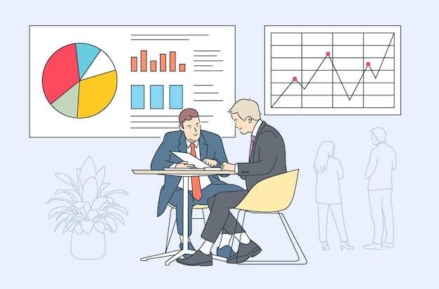 コワーキングチームワークビジネスプレゼンテーションの概念