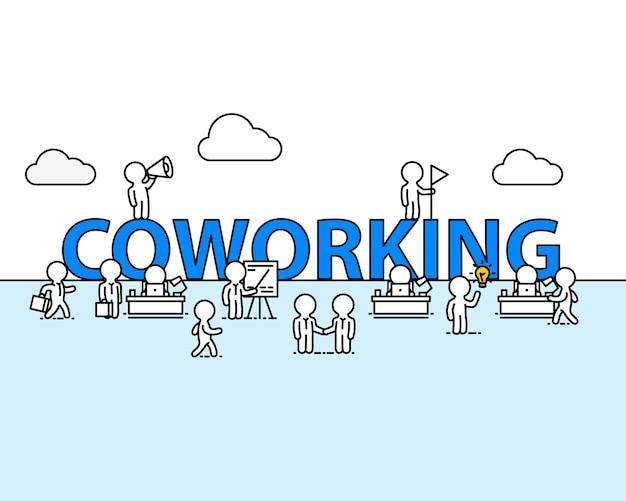 Коворкинг текстовый рабочий офис с людьми. векторная иллюстрация