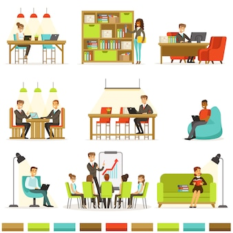 Коворкинг на рабочем месте, фрилансеры делятся пространством и идеями в офисе, где они работают вместе коллекция иллюстраций