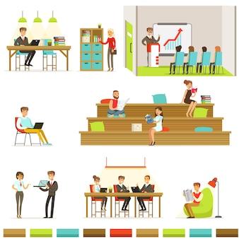 Коворкинг на рабочем месте, фрилансеры делятся пространством и идеями в офисе, где они работают вместе набор иллюстраций