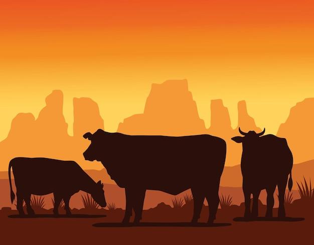 Коровы animasl фермы силуэты в пейзаже