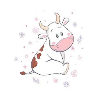 牧草地で放牧牛。テキストの使用可能なスペース。