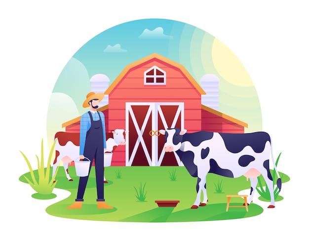 牛舎のイラスト、牧場または家畜の乳牛、牛、牛の農村。この図は、ウェブサイト、ランディングページ、ウェブ、アプリ、バナーに使用できます。