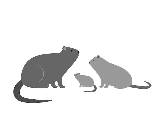 Семья нойпу, мама, папа и ребенок. векторная иллюстрация для печати, упаковки, наклеек