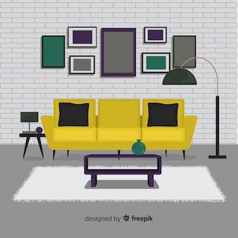 평면 디자인의 아늑하고 현대적인 거실