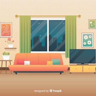 Уютная и современная гостиная с плоским дизайном
