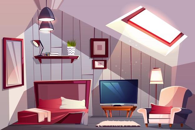 Уютный мансардный интерьер спальни или гостевой комнаты с открытой кроватью