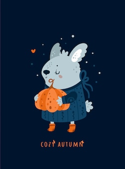 Cozy autumn. baby bunny rabbit with pumpkin