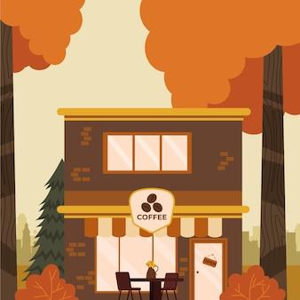 居心地の良い秋のカフェのイラスト