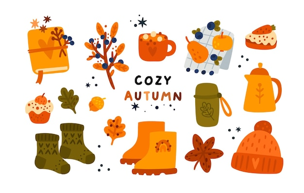 Cozy autumn collection with hand drawn elements teapot cup knitting hat notebook herbarium