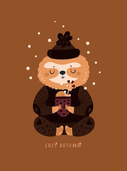 Cozy autumn. cute sloth with cup of herbal tea