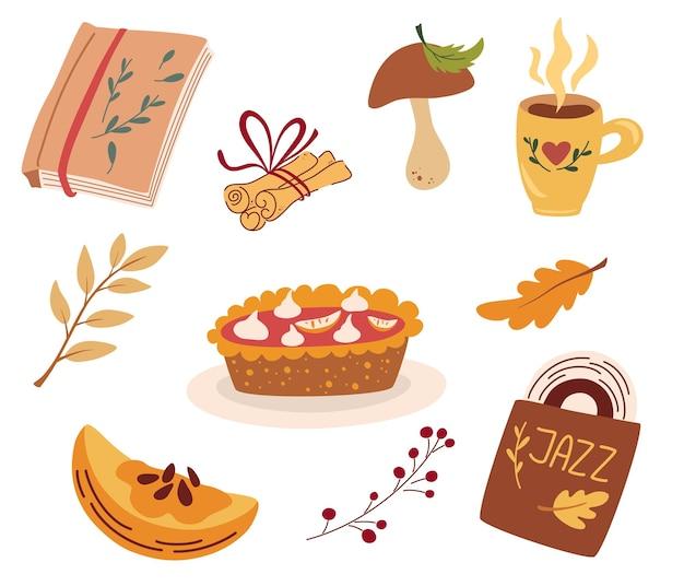 Уютные осенние стихии. тыквенный пирог, джазовая пластинка, горячий напиток, палочки корицы