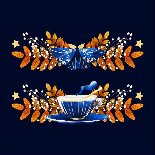 居心地の良い秋のイブニングカードデザイン手描きアート