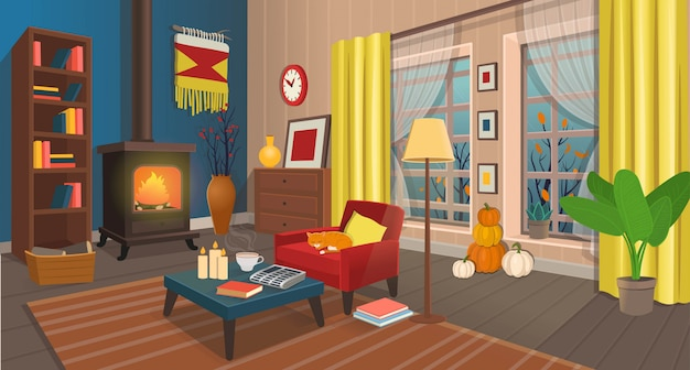 Cozy autumn living room with fireplace, armchair, table, windows, bookshelf,  lamp. illustration in cartoon style.