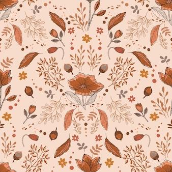 花のシームレスなパターンイラストベクトルeps10の居心地の良い秋の気分枝の葉の果実
