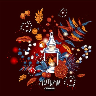 Cozy autumn orange maple leaves, flowers, pine cone, berries, pumpkin, lantern and butterflies
