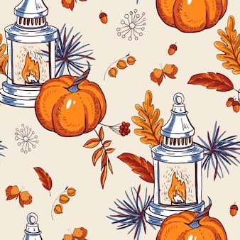 居心地の良い秋のシームレスなパターン、オレンジの葉、花、松ぼっくり、果実、カボチャ、ランタン、蝶