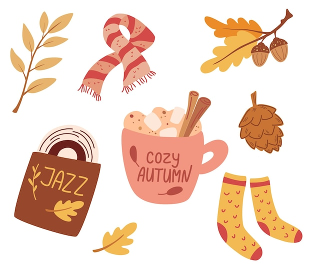 Cozy autumn. set of cute autumn elements: scarf, knitted socks, warming drink, jazz record, autumn leaves. idea of coziness and comfortable lifestyle, winter or autumn mood. hygge vector illustration.