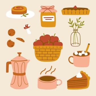Уютный осенний набор милая осенняя тыква, пряный пирог, торт, джем, горячий шоколад, напиток, яблоки, мокко, кофе, грибное печенье, иллюстрация