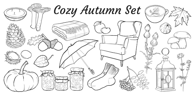 Cozy autumn set of hand drawn isolated elements