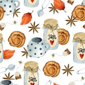 아늑한 가을 차와 잼 수채화 원활한 패턴