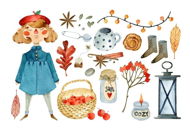 스티커 스크랩북 디자인에 대한 아늑한 가을 수채화 요소 컬렉션