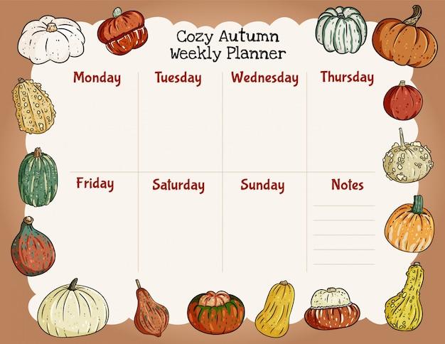 居心地の良い秋のウィークリープランナーとトレンディなカボチャの飾りのリストを行います。