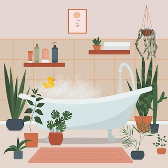 Cozy bathroom interior with bath full of foam and bath accessories and plants growing in pots